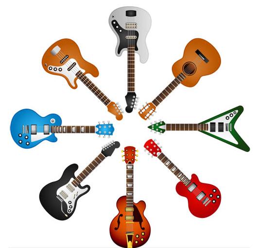 Different Guitars free set vector