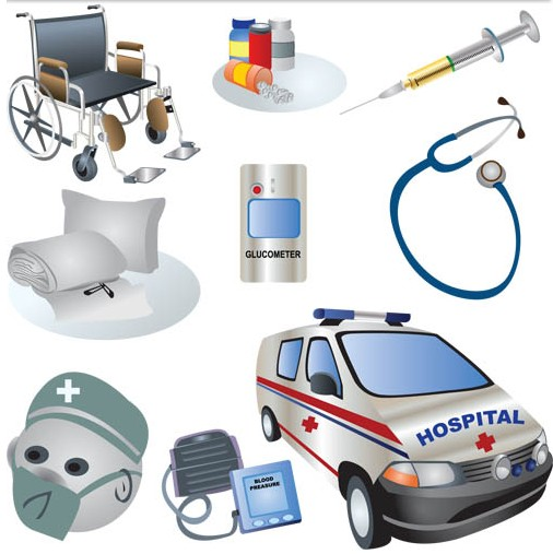 Different Hospital Stuff design vector