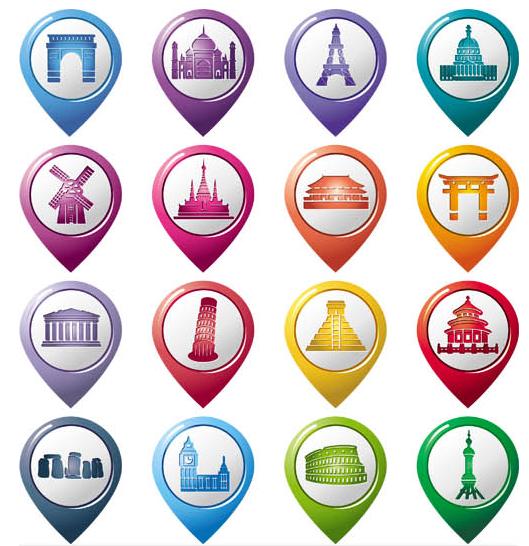 Different Maps Pointers 11 vectors graphics