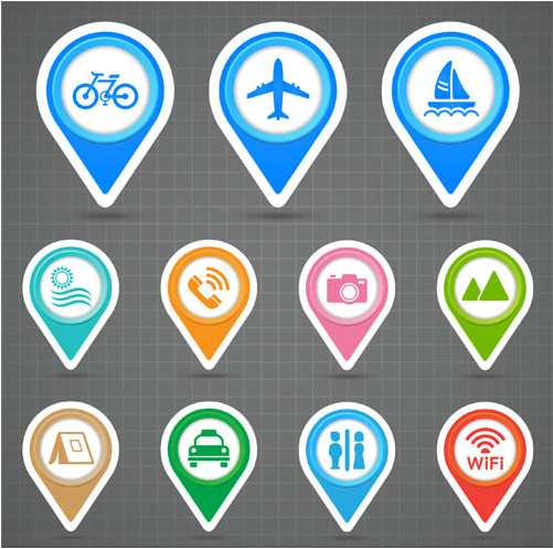 Different Maps Pointers 4 vectors graphic