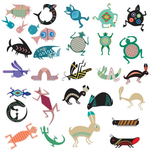 Different Ornamets Animals set vector