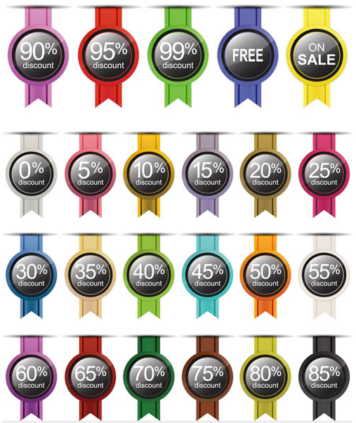 Different Sale Color Stickers vector