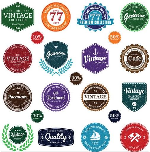Different Shiny Labels vectors graphic