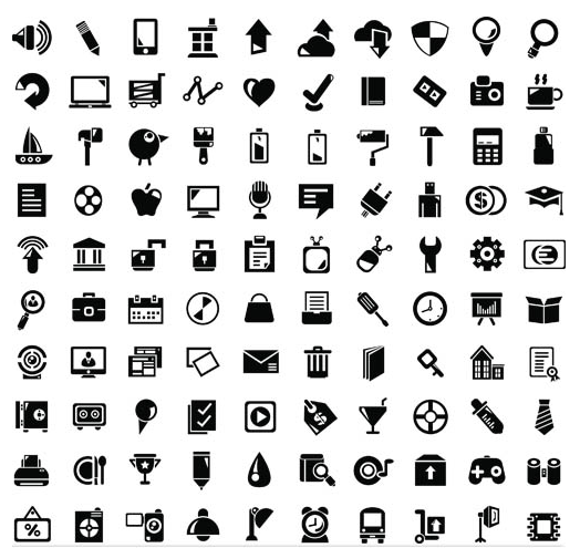 Different Silhouette Icons 2 set vector