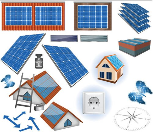 Different Solar Panels art vector