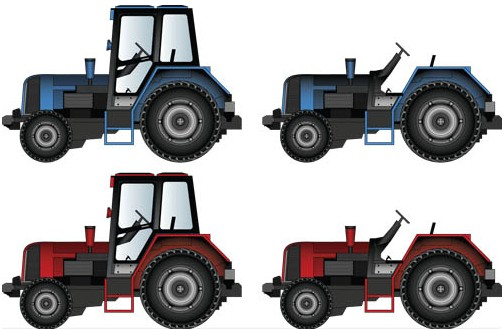 Different Tractors free vector