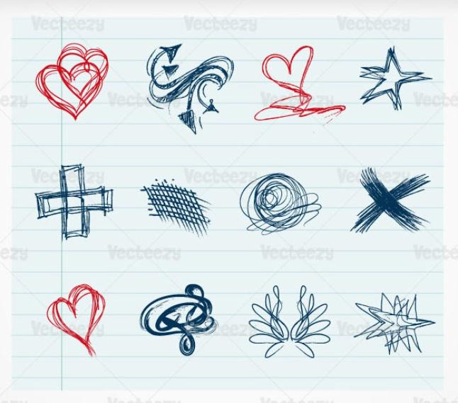 Different shape doodle vector
