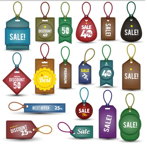 Discount Stickers free vector