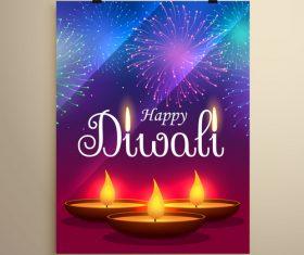 Diwali festvial flyer with brochure template vectors graphic 01