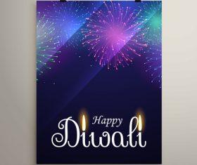 Diwali festvial flyer with brochure template vectors graphic 02