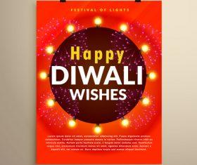 Diwali festvial flyer with brochure template vectors graphic 03