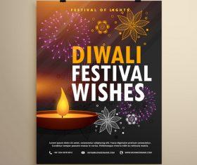 Diwali festvial flyer with brochure template vectors graphic 04