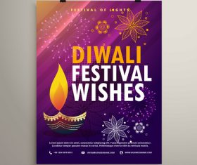 diwali festvial flyer with brochure template vectors graphic 05