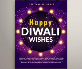Diwali festvial flyer with brochure template vectors graphic 06