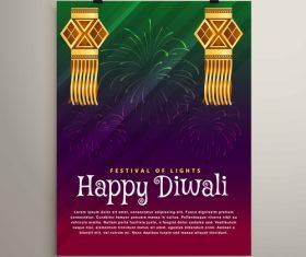 Diwali festvial flyer with brochure template vectors graphic 07