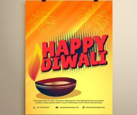 Diwali festvial flyer with brochure template vectors graphic 08