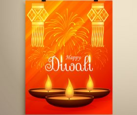 Diwali festvial flyer with brochure template vectors graphic 09