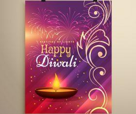 Diwali festvial flyer with brochure template vectors graphic 12