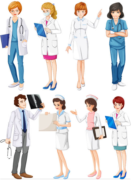 Doctors and Nurses free vector