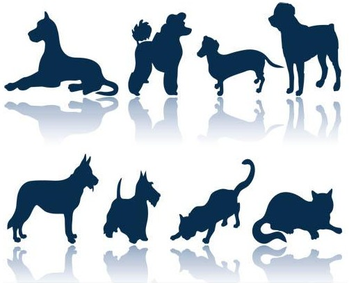 Dogs and Cats Silhouettes vector graphic