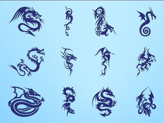 Dragon Tattoos Graphics shiny vector