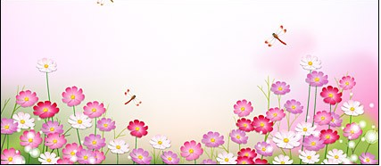 Dragonfly in Flower garden vector