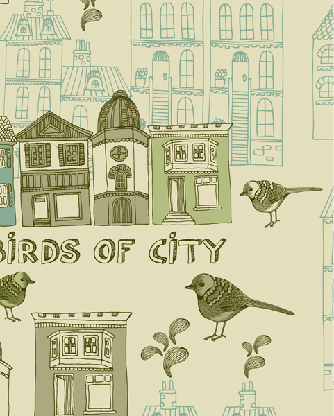 Draw Birds and city 2 vector