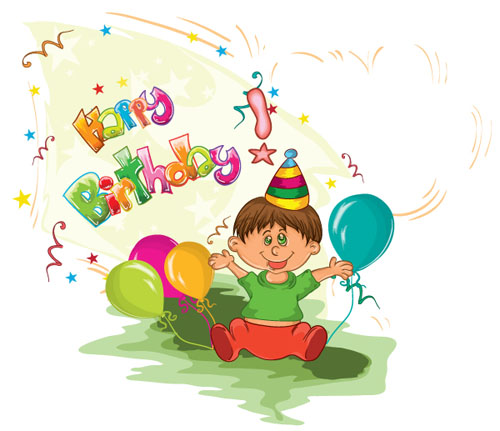 Draw Kids birthday background vector