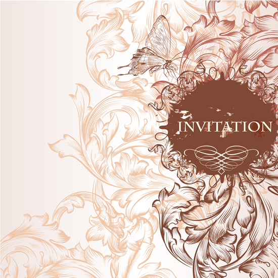 Draw floral wedding invitation background 2 vector