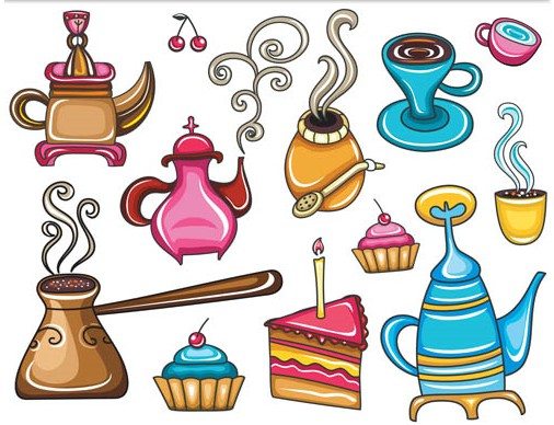 Drawing Cafe Elements vector graphics
