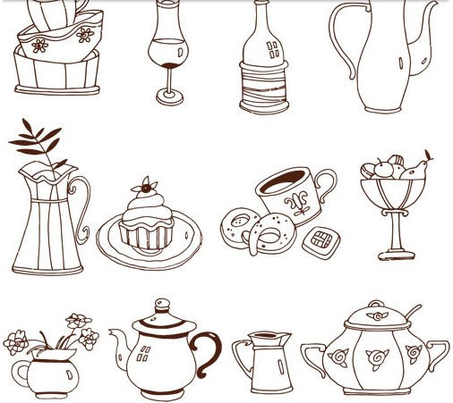 Drawing Kitchen Elements vector set