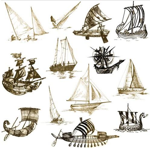 Drawing Old Ships vector