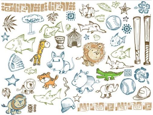 Drawing Style Elements design vectors