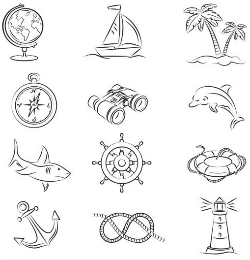 Drawing Travel Icons set vector
