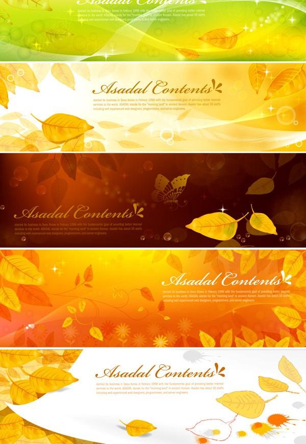 Dream golden leaves banner background vector graphics
