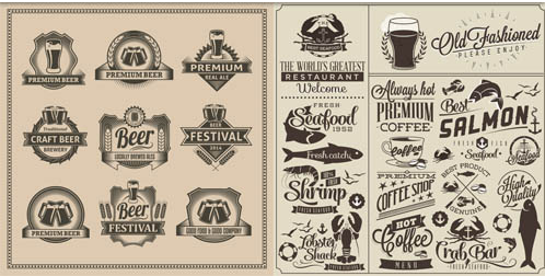 Drinks Labels free creative vector
