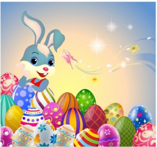 Easter Bunny and eggs free set vector