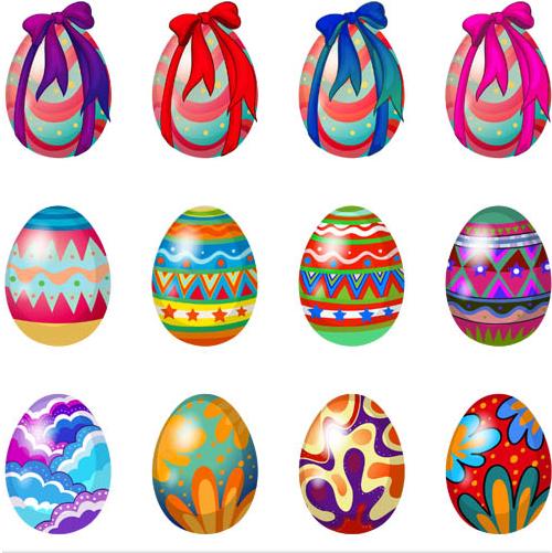 Easter Shiny Eggs 3 vector set