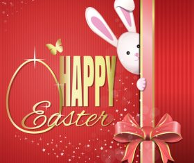 Easter festive background with pink ribbon bow vector