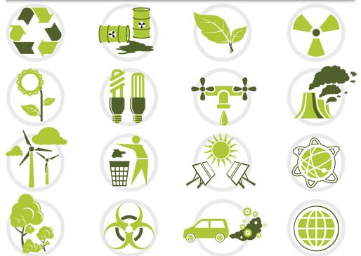 Eco Symbols Icons Vector