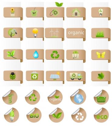 Eco bio label and badge set vector
