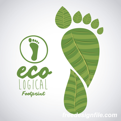 Ecological background with footprint vectors material 01