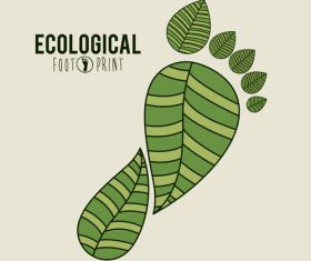 Ecological background with footprint vectors material 02
