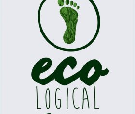 Ecological background with footprint vectors material 03