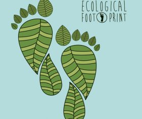 Ecological background with footprint vectors material 04