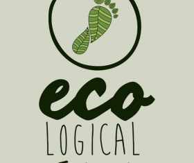 Ecological background with footprint vectors material 05