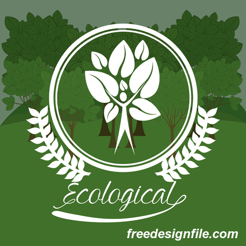 Ecological sign with green natural background vector 01