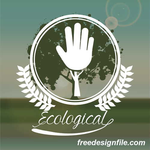 Ecological sign with green natural background vector