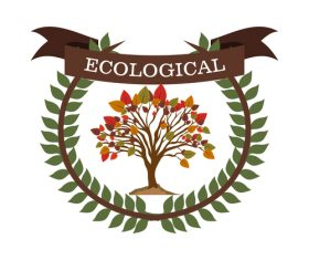 Ecological sign with laurel wreath vector
