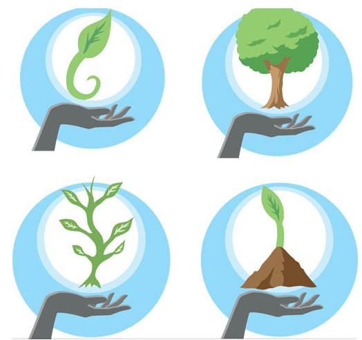Ecology Bright Symbols vector graphics